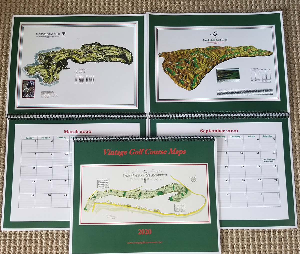 Vintage Golf Course Map Calendar 2020